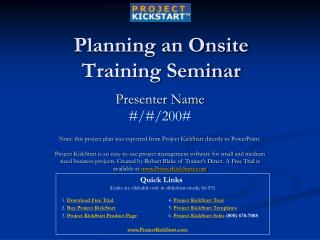 Planning an Onsite Training Seminar