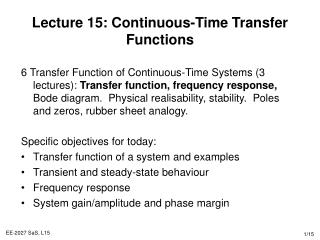 Lecture 15: Continuous-Time Transfer Functions