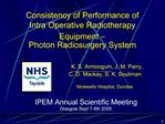 Consistency of Performance of  Intra Operative Radiotherapy Equipment    Photon Radiosurgery System