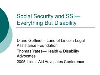 Social Security and SSI