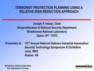 terrorist protection planning using a relative risk reduction approach