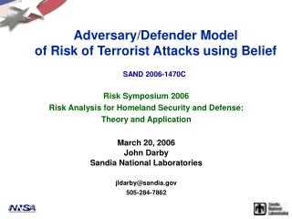 Adversary/Defender Model of Risk of Terrorist Attacks using Belief