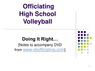 Officiating High School Volleyball
