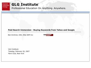 Paid Search Immersion - Buying Keywords from Yahoo and Google