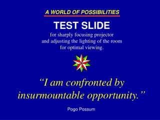 I am confronted by insurmountable opportunity.   Pogo Possum