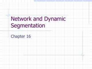 Network and Dynamic Segmentation