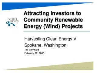 Attracting Investors to Community Renewable Energy Wind Projects