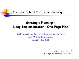 Effective School Strategic Planning