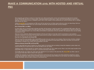Make a Communication Level with Hosted and Virtual PBX