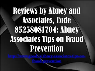 Reviews by Abney and Associates, Code 85258081704: Abney Ass