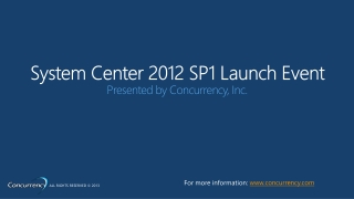 System Center 2012 SP1 Launch Event