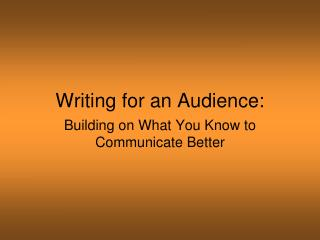 Writing for an Audience: