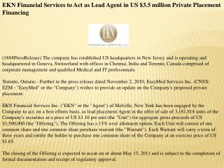 ekn financial services to act as lead agent in us $3.5 milli