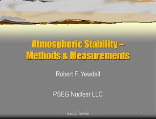 Atmospheric Stability             Methods  Measurements