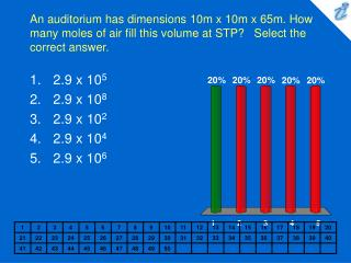 An auditorium has dimensions 10m x 10m x 65m. How many moles of air fill this volume at STP   Select the correct answer.