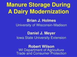 Manure Storage During A Dairy Modernization