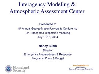 Interagency Modeling  Atmospheric Assessment Center