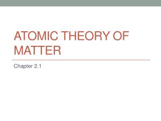 Matter  The Atom