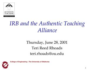 IRB and the Authentic Teaching Alliance
