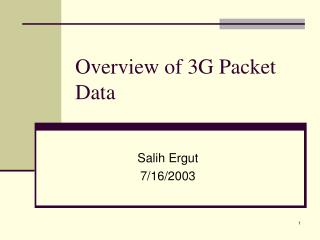 Overview of 3G Packet Data