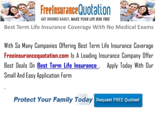 Best Term Life Insurance Coverage With No Medical Exams