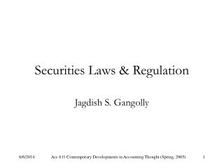 Securities Laws  Regulation