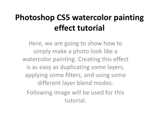 Photoshop CS5 watercolor painting effect tutorial