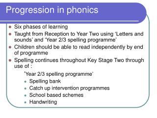 Progression in phonics