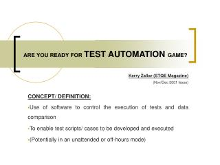 ARE YOU READY FOR TEST AUTOMATION GAME