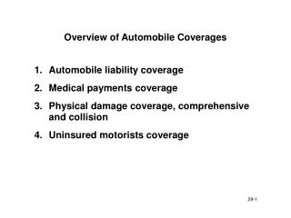Overview of Automobile Coverages