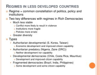 Regimes in less developed countries