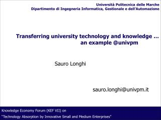 Transferring university technology and knowledge       an example univpm