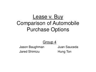 Lease v. Buy Comparison of Automobile Purchase Options