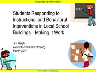 Students Responding to  Instructional and Behavioral Interventions in Local School Buildings Making It Work  Jim Wright