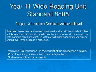 Year 11 Wide Reading Unit Standard 8808