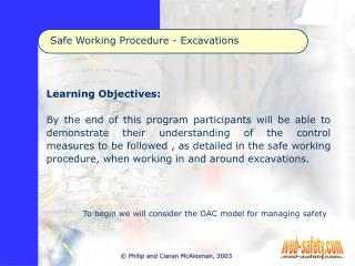 Safe Working Procedure - Excavations
