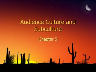 Audience Culture and Subculture