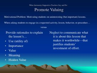 What Autonomy-Supportive Teachers Say and Do:   Promote Valuing