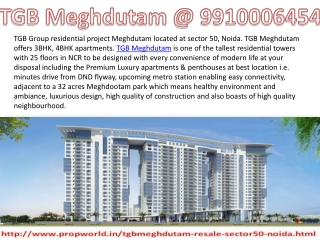 TGB Meghdutam Resale 9910006454 Ready to Move Apartments TGB