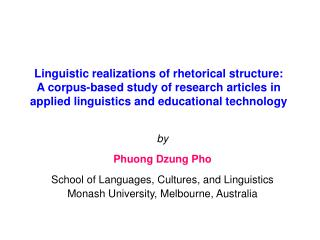 Linguistic realizations of rhetorical structure: A corpus-based study of research articles in applied linguistics and ed