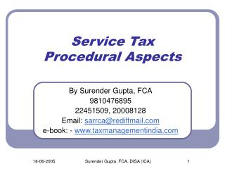 Service Tax Procedural Aspects