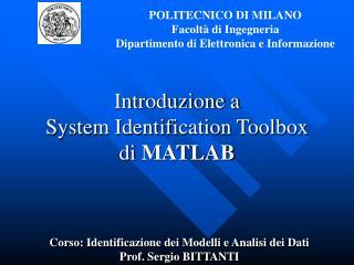 Introduzione a  System Identification Toolbox  di MATLAB