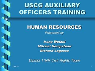 USCG AUXILIARY OFFICERS TRAINING