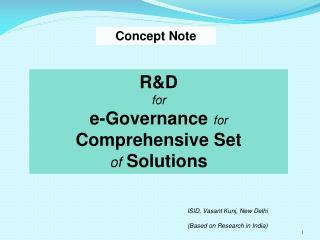 RD for e-Governance for Comprehensive Set  of Solutions