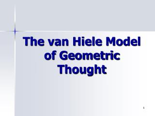 The van Hiele Model of Geometric Thought