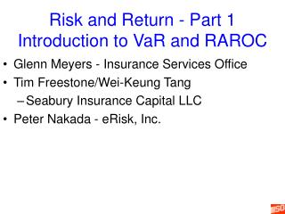 Risk and Return - Part 1 Introduction to VaR and RAROC