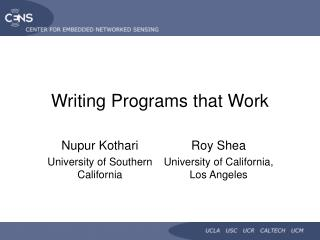 writing programs that work
