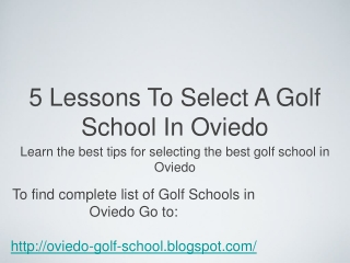 Find The Best Oviedo Florida Golf Schools