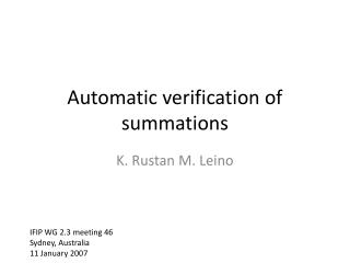 Automatic verification of summations