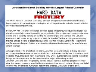 Jonathan Monsarrat Building World's Largest Atheist Calendar